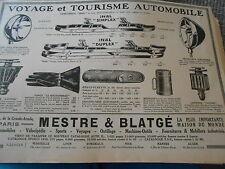 Publicité Advert 1926 Voyage Tourisme Auto Pare chocs Gants Réchaud Lanterne