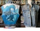 VTG denim cutoff distressed jacket vest Killer Whales jewles spikes hippie studs