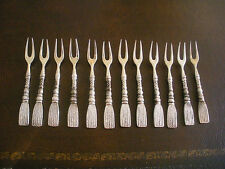 VINTAGE SILEA APPETIZER CHEESE FORKS ROPE DESIGN LOT OF 12 EXCELLENT