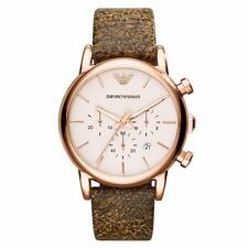 New Emporio Armani Classic Chronograph Brown Leather Men's Watch AR1809 $245