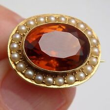 Victorian 15ct Gold Scottish Cairngorm Citrine & Pearl Lace Pin Brooch c1885