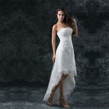 STRAPLESS A-LINE SHORT FRONT LONG BACK WEDDING DRESS. BRIDAL GOWN. SIZES 2-16.