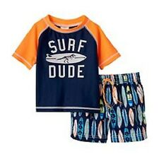Carter's Surf Dude Swimsuit & Rash Guard Top Swim Set Infant Baby Boy 12 Months