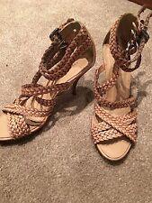 Karen Millen Womens Size 5 Nude Heel Gladiator Sandals