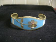 "Alpaca Silver Blue Stone Mother of Pearl Inlay 5.25"" Cuff Bracelet"
