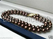 "Pretty 8mm Chocolate Brown South Sea Shell Pearl Necklace 18"" AAA+"