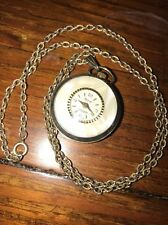 Vintage Lucerne Swiss Made Necklace Watch Gold Tone Windup Mother Of Pearl