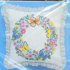 """Bucilla Bead Embroidery Butterflies 12"""" Pillow Kit Butterfly Floral Sealed USA"""