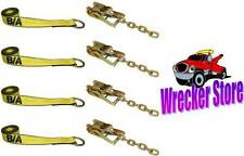 ROLLBACK CARRIER SPORTS CAR Damage Free TIE DOWN STRAPS and RATCHETS - SET OF 4
