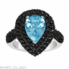 14K WHITE GOLD PEAR SHAPE BLUE TOPAZ AND ENHANCED BLACK DIAMONDS ENGAGEMENT RING