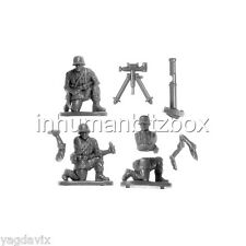 GLHW2 MORTAR 82mm + 3 CREWS + BASE M GERMAN LATE FLAMES OF WAR BITZ PSC 15mm