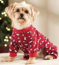 New Size Large Red with Polar Bears Dog Pajamas Sleepwear Dog Clothes Pet