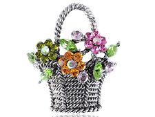 Crystal Rhinestone Pastel Spring Flower Bouquet Silver Tone Basket Pin Brooch