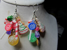 Unique Gumdrops,Lollypop CANDY CANE 925 EARRINGS CHRISTMAS Handcrafted nora winn