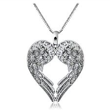 Fashion Women Silver Angel Wing LOVE Heart Silver Pendant Necklace Gift New