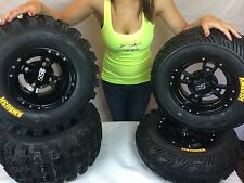 4 NEW SUZUKI LTZ250 LTZ400 450R BLACK ITP SS112 Rims & AMBUSH Tires Wheels kit