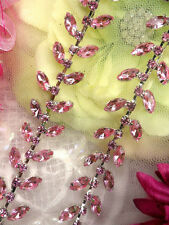 XR115 Pink Crystal Rhinestone Leaf Vine Trim ~ Bridal Cake Decoration