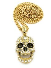 """New Iced Out Skull Face Hip Hop Pendant &6mm/36"""" Cuban Link Chain Necklace CP15"""