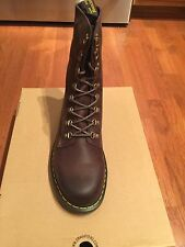 Dr. Martens Wallis Tall-Lace Leather Boots Dark Brown Size 12 US/11 UK NIB
