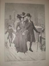 Un saludo de Navidad George H Edwards 1898 antiguos impresión