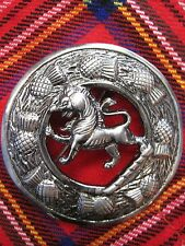 "NEW Large Scottish Rampant Lion Brooch for Kilt Fly/Piper Plaid 3"" Diameter"
