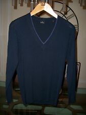 used PS PAUL SMITH navy merino wool ribbed sweater size S $295 Neiman