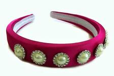 Pretty Satin Headband Hair band 6 Crystal Pearl Cabochon Rhinestone Jewel Padded