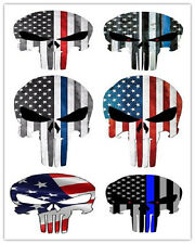 """6pc Style 4""""x3"""" Punisher Skull American Flag Sticker Decal Tactical Vinyl Label"""