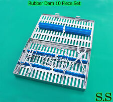 Rubber Dam 10 Pieces Set Up,Clamps,Ainsworth Forceps,Frame,Case