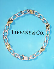 Tiffany & Co 18K 18Ct Gold Sterling Silver Link 7.5 Inch Bracelet