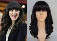 DELUXE ZOOEY DESCHANEL LONG DARK BROWN RETRO CURLY HIGH FASHION CELEBRITY WIG