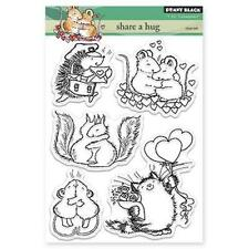 New Penny Black RUBBER STAMP clear set SHARE A HUG valentines LOVE free usa ship