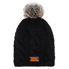 Aran Traditions Womans Ladies Men Winter Warm Knitted Style Black Beanie Hat