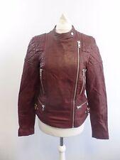 Jack Wills Habbick Leather Jacket Oxblood Size UK 10 RRP £298 Box4641 Q