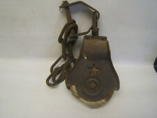 Antique Wood Pulley in Iron Star Design with attached Chain