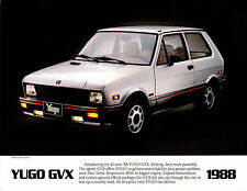 1988 Yugo GVX  2 side Car Brochure   Rare Hard to Find