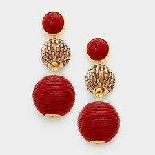 Large Red Threaded Ball FASHION Earrings