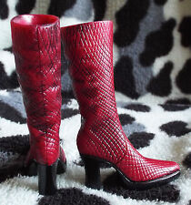 Bratz Doll Red Burgundy Faux Snake Lizard Reptile Boots Shoes - NO DOLL