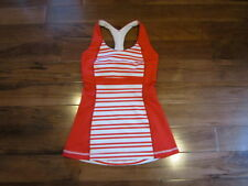 LULULEMON fast track tank in red and white size 2 twin stripe