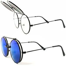 Steampunk Cool Django Indie Blue Mirror Clear Lens Round Black Flip Sun Glasses