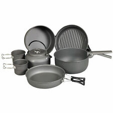 Ndur 9 Piece Cookware Mess Kit w/Kettle Camping Eating Pots Pans Nesting 22900