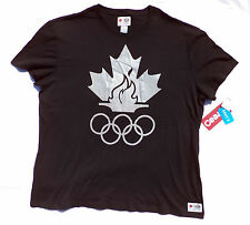 CANADA 2011 Olympic Rings & Torch Mens Black T-shirt Size X-Large New With Tags