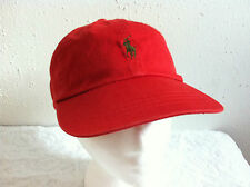 Polo Ralph Lauren Hat Baseball Cap~Red~Fabric Strap~Olive Green Logo~NWT