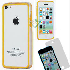 Pellicola+BUMPER giallo trasparente per iPhone 5C custodia cover display bordi