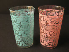 2 Vintage Turquoise & Pink Drinking Glasses Mid Century Pattern Excellent Pair