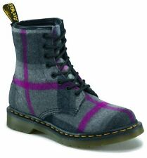 New Dr.Martens Castel 8 Eye Lace up Boots Grey Pink Plaid Mohair Womens sz 6 US