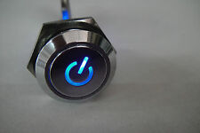 Stainless Push Switch Blue 2.2v Led Power Logo Marked Latching 3v-6v-9v-12v 16mm