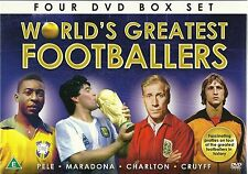 WORLD'S GREATEST FOOTBALL PLAYERS 4 DVD SET PELE MARADONA CHARLTON & CRUYFF NEW