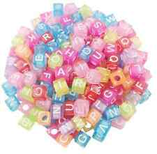 100 Pcs/Lot Square/Round Alphabet Letter Beads Acrylic Cube Jewelry Making