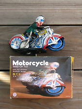 "TIN LITHO 7.5"" MOTORCYCLE W/ DRIVER BY Q.S.H. CLOCKWORK CHINA c1980's MS702"